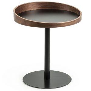 Ořechový odkládací stolek LaForma Karlin s černou podnoží Ø 46 cm - Výška55/45 cm- Průměr 50/38 cm
