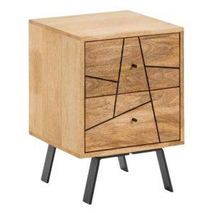 Mangový noční stolek LaForma Balia 40 x 40 cm - Výška45 cm- Podnož move Černě lakovaný kov