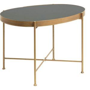 Černý skleněný oválný odkládací stolek LaForma Marsh se zlatou podnoží 63 x 45 cm - Výška46 cm- Šířka 45 cm