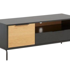 Matně černý dubový TV stolek LaForma Savoi 120 x 45 cm - Výška50 cm- Šířka 120 cm