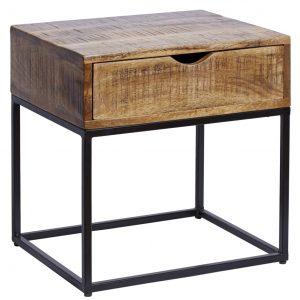 Moebel Living Masivní mangový noční stolek Fabio 45 x 35 cm - Výška45 cm- Šířka 45 cm