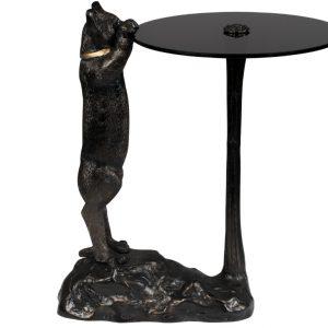 Černý kulatý odkládací stolek Bold Monkey No Girlfriend No Problem 38x47 cm - Výška58 cm- Nosnost move 10 kg