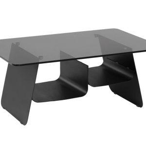 Černý skleněný konferenční stolek LaForma Oseye 94 x 64 cm - Výška39 cm- Deska move Kalené kouřové sklo