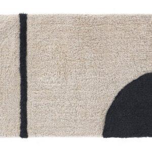 Béžovo černá bavlněná koupelnová předložka LaForma Maica II.