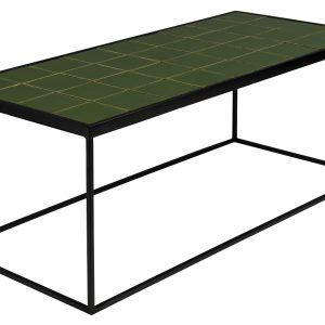 Zelený kovový konferenční stolek ZUIVER GLAZED s keramickým obkladem 93x43 cm - Max. nosnost move10 kg- Deska move Keramika