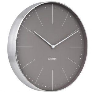 Time for home Šedo stříbrné kulaté nástěnné hodiny Honk II - Průměr37