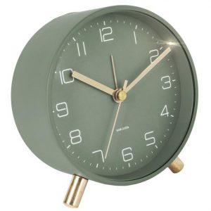 Time for home Matný zelený kovový budík Imori - Průměr11 cm- Baterie move 1 x AA