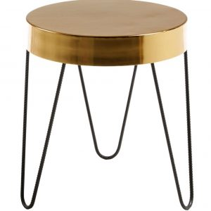 Zlatý kovový kulatý odkládací stolek LaForma Juvenil 45 cm - Výška50 cm- Deska move Zlatě lakovaný kov