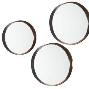 Set tří měděných zrcadel LaForma Rem - Průměr move30/41/51 cm- Rám move Černě lakovaný měd. kov