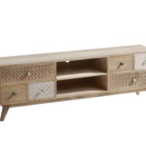 Masivní mangový TV stolek LaForma Hood 160 x 35 cm - Výška51 cm- Šířka 160 cm