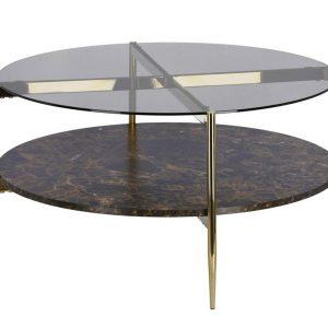 Skleněný kulatý konferenční stolek LaForma Kamilah 84 cm - Šířka84 cm- Deska move Tónované sklo