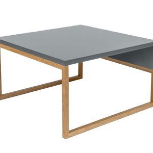 Šedý konferenční stolek Woodman Cubis s dubovou podnoží 60 x 50 cm - Výška34 cm- Šířka move 60 cm