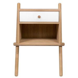 Bílý dubový noční stolek Woodman Wiru 51 x 35 cm - Výška70