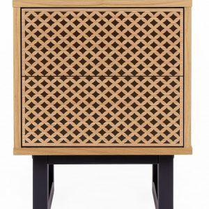 Vzorovaný dubový noční stolek Woodman Camden s březovou podnoží 40 x 40 cm - Výška53 cm- Podnož move Černě lakované březové dřevo