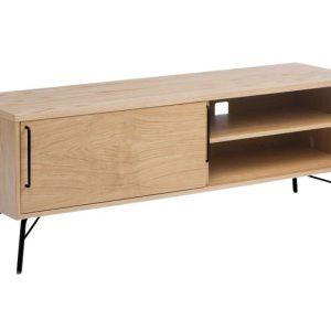 Dubový TV stolek Woodman Ashburn s černou kovovou podnoží 145 x 44 cm - Výška53 cm- Podnož move Lakovaná ocel