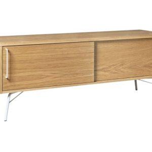 Dubový TV stolek Woodman Ashburn s bílou kovovou podnoží 145 x 44 cm - Výška53 cm- Podnož move Lakovaná ocel