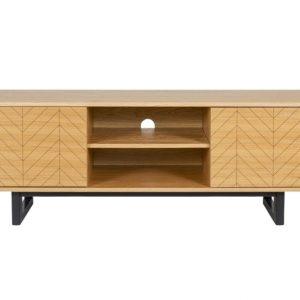 Dubový rýhovaný TV stolek Woodman Camden s březovou podnoží 150 x 40 cm - Výška50 cm- Šířka 150 cm