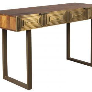 Zlatý mangový toaletní stolek DUTCHBONE VOLAN 140 x 50 cm - Výška76 cm- Šířka 140 cm