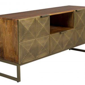 Zlatý mangový TV stolek DUTCHBONE VOLAN 135 x 40 cm - Výška60 cm- Šířka 135 cm