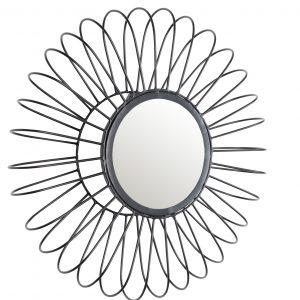 White Label Living Černé kovové zrcadlo WLL SELENA 50 cm - Výška50 cm- Hloubka 9 cm
