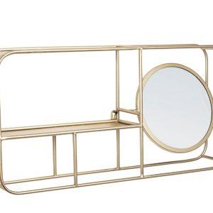 Zlatá kovová police se zrcadlem Bizzotto Nucleos 69 cm - Výška34 cm- Šířka 69 cm