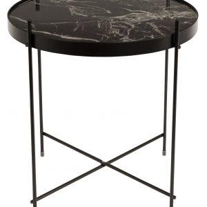 Černý kovový odkládací stolek ZUIVER CUPID 43 cm s mramorovým dekorem - Max. nosnost move5 kg- Deska move Sklo