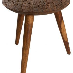 Hnědý sheeshamový odkládací stolek DUTCHBONE BY Hand M O 35 cm - Průměr35 cm- Max. nosnost move 10 kg