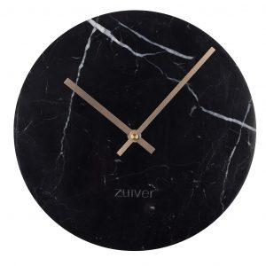 Černé nástěnné mramorové hodiny ZUIVER MARBLE TIME O 25 cm - Průměr move25 cm- Výška move 4