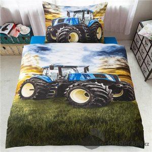 TOP 3D povlečení 140x200+70x90 Traktor modrý - -