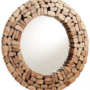 Dřevěné kulaté zrcadlo LaForma Ellipse 80 cm - Hloubka move4 cm- Rám move Recyklované dřevo