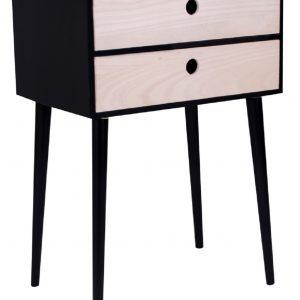 Nordic Living Černý dřevěný noční stolek Feda II. 32 x 45 cm - Šířka45 cm- Výška 65