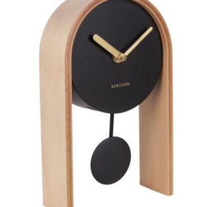 Time for home Černé přírodní stolní hodiny Aka - Šířka15 cm- Hloubka move 7 cm