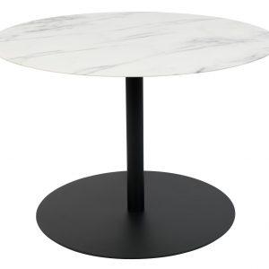Bílý mramorový konferenční stolek ZUIVER SNOW ROUND M s černou podnoží 60 cm - Max. nosnost move23 kg- Deska move Kov