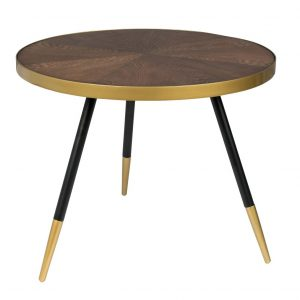 White Label Living Hnědý jasanový konferenční stolek WLL DENISE 61 cm - Max. nosnost move20 kg- Deska move Jasanová dýha