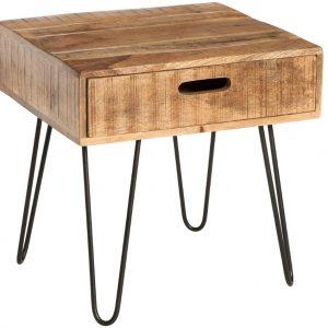 Moebel Living Masivní mangový odkládací stolek Remus 50 x 50 cm - Výška45 cm- Korpus move Masivní mangové dřevo
