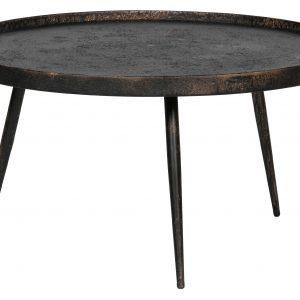 Hoorns Černý kovový konferenční stolek Buster XL s patinou 76 cm - Výška40 cm- Deska move Kov s patinou