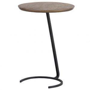 Hoorns Hnědo černý kovový odkládací stolek Antique 39 cm - Výška54 cm- Průměr 39 cm