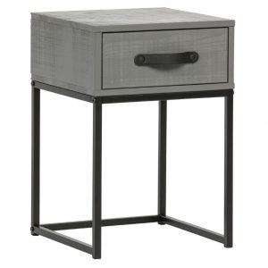 Hoorns Šedý borovicový noční stolek Neville - Výška52 cm- Šířka move 35 cm