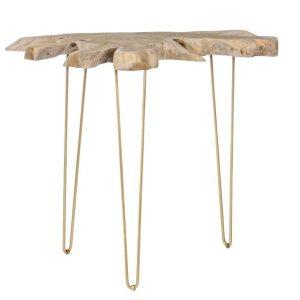 Teakový toaletní stolek Bizzotto Samina 100 x 50 cm se zlatou podnoží - Výška90 cm- Šířka 100 cm
