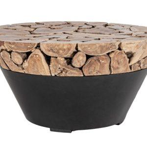 Hnědo černý teakový konferenční stolek Bizzotto Grenadi 90 cm - Výška45 cm- Deska move Teakové dřevo