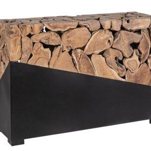 Hnědo černý teakový toaletní stolek Bizzotto Grenadi 120 x 40 cm - Výška80 cm- Podnož move Černě lakovaný kov