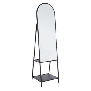 Černé kovové stojací zrcadlo Bizzotto Aris 172 cm - Výška172 cm- Šířka 46 cm