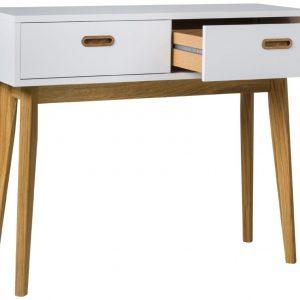 Matně bílý lakovaný dřevěný toaletní stolek Tenzo Bess 98 x 35 cm s dubovou podnoží - Výška82 cm- Šířka 98 cm