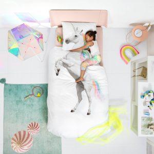 Bavlněné povlečení Snurk 135x200 + 50x75cm - Jednorožec - MateriálOrganická bavlna- Rozměr 135 x 200 cm