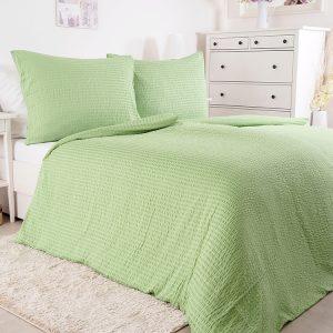 Luxusní mikrokrepové povlečení - Green - BarvaZelená- Materiál 100 % polyester - mikrokrep